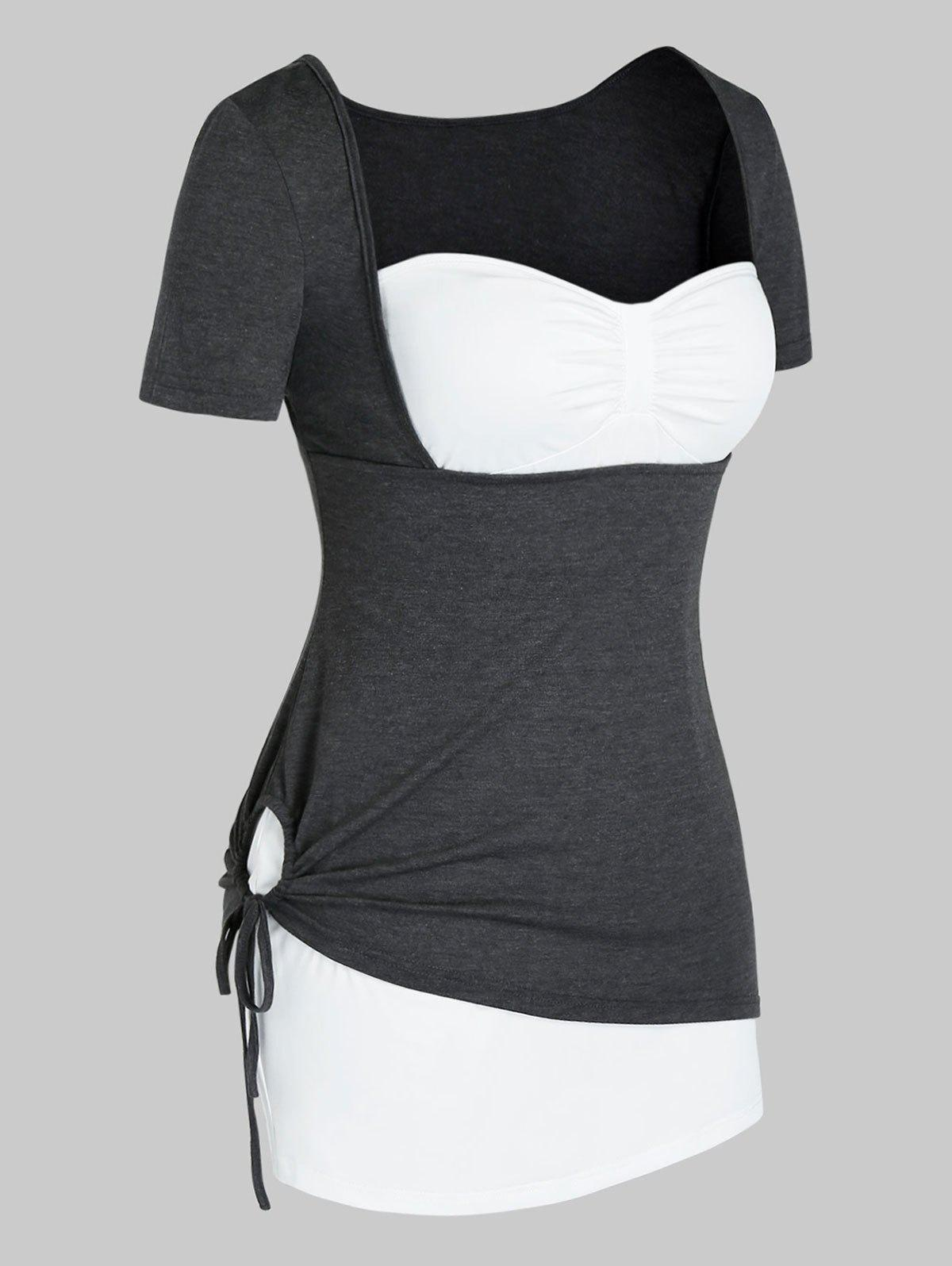 Outfits Plus Size Strapless Top and Marled Cinched Tee Set