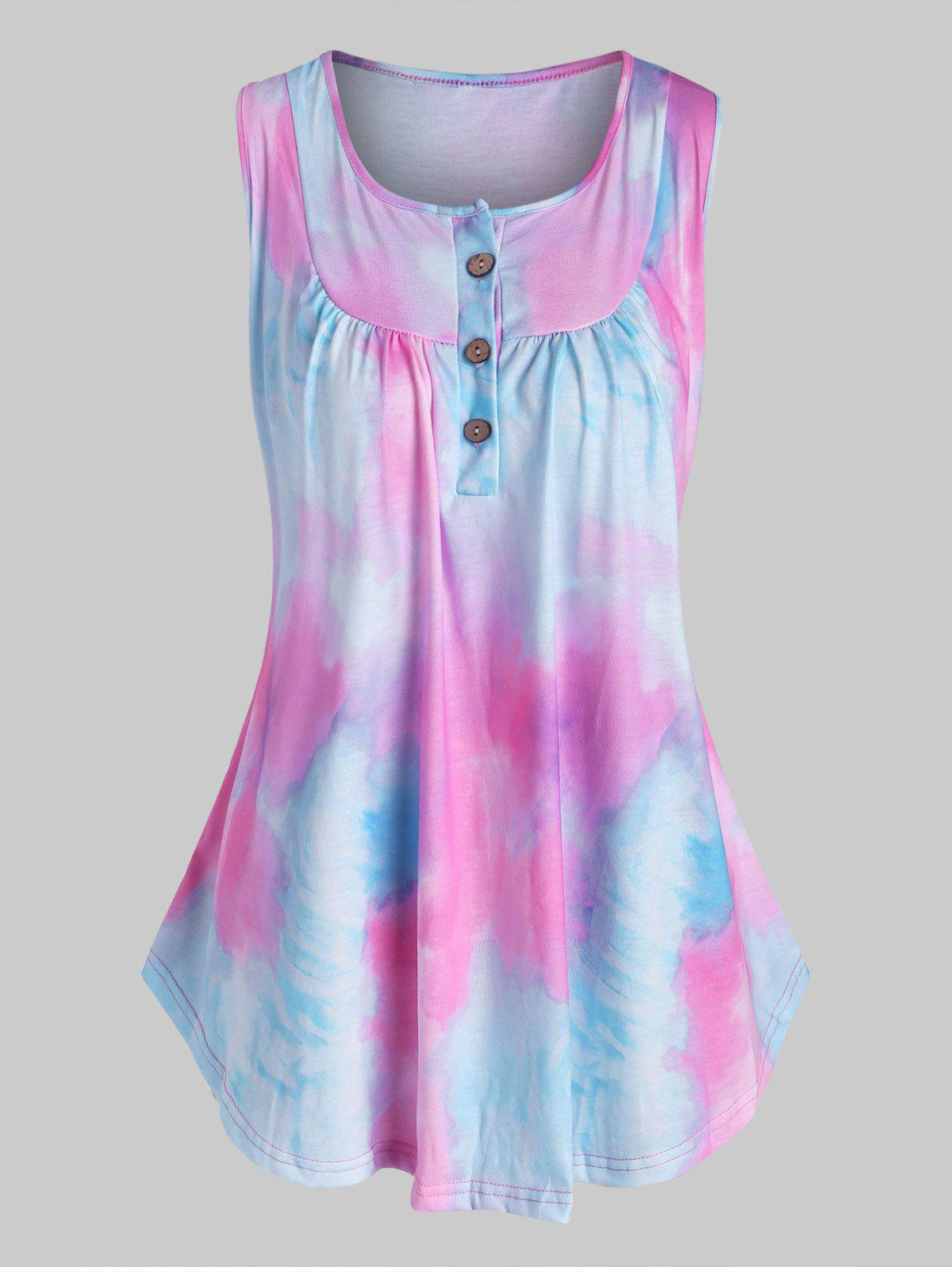 Plus Size Tie Dye Half Button Tank Top фото