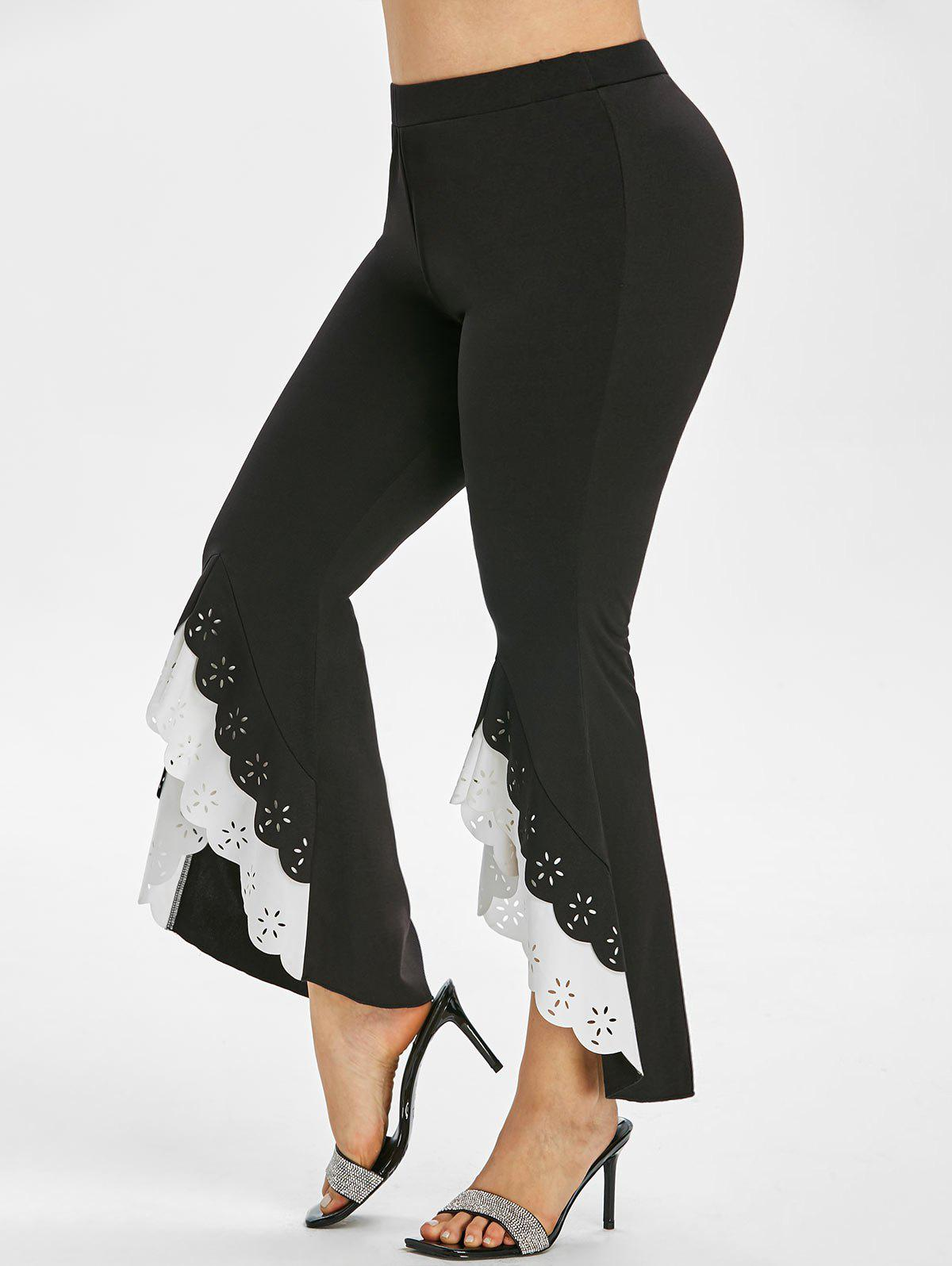 Chic Layered High Low Hem Laser Cut Plus Size Flare Pants