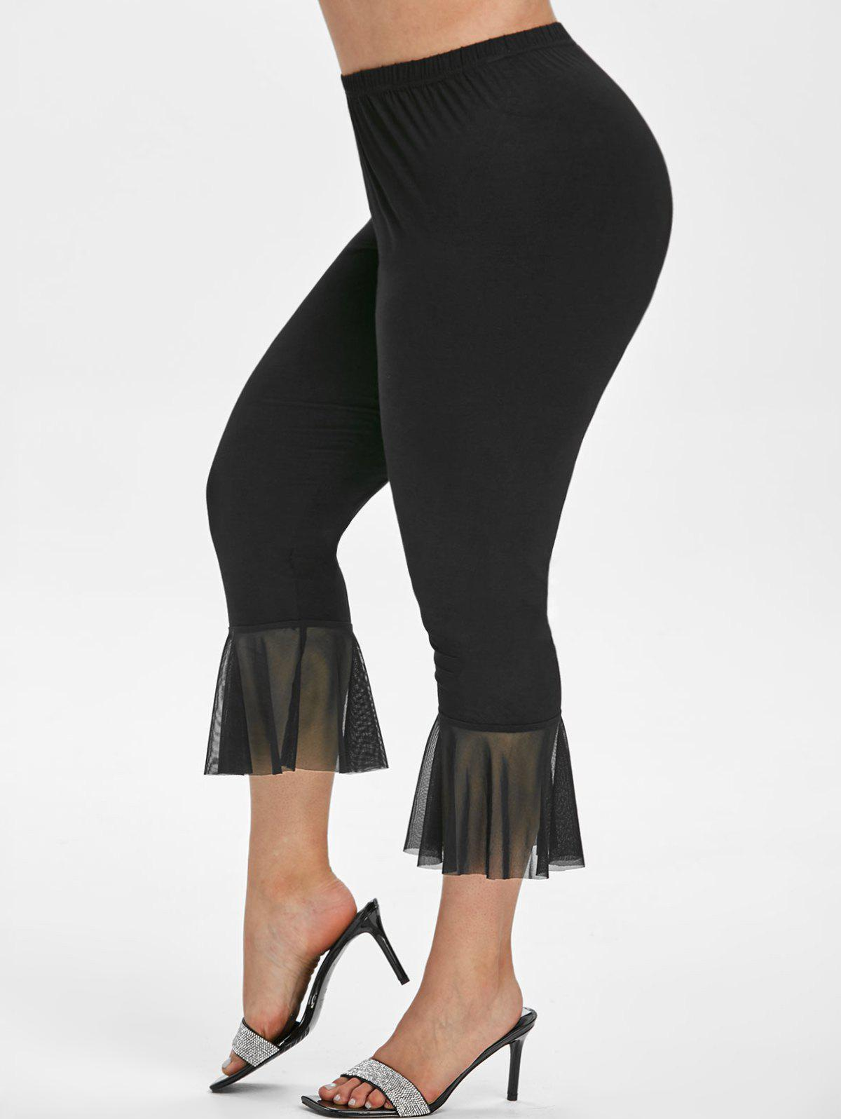Fancy High Waisted Mesh Panel Plus Size Flare Pants