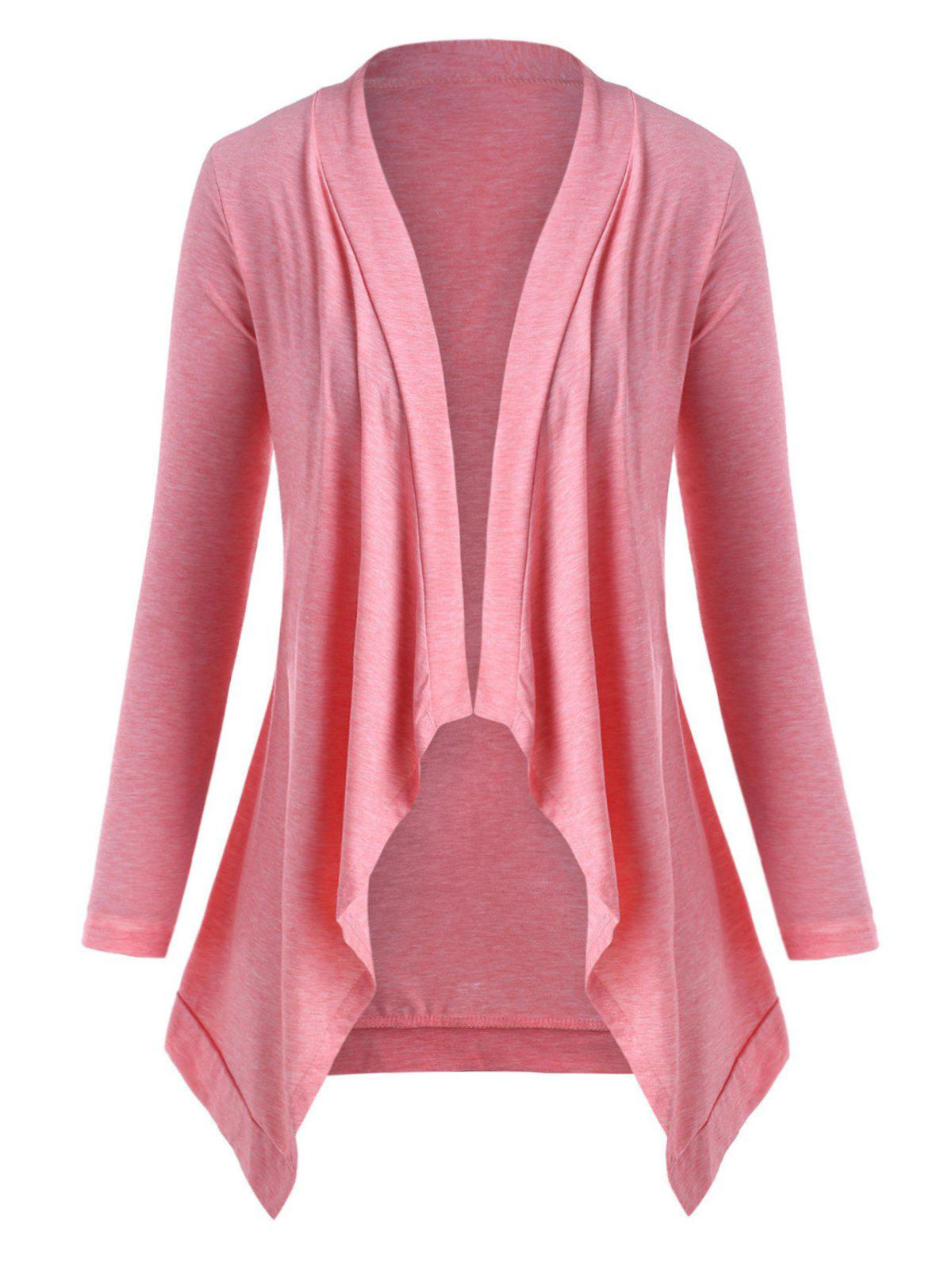 Latest Heathered Open Front Waterfall Plus Size Cardigan