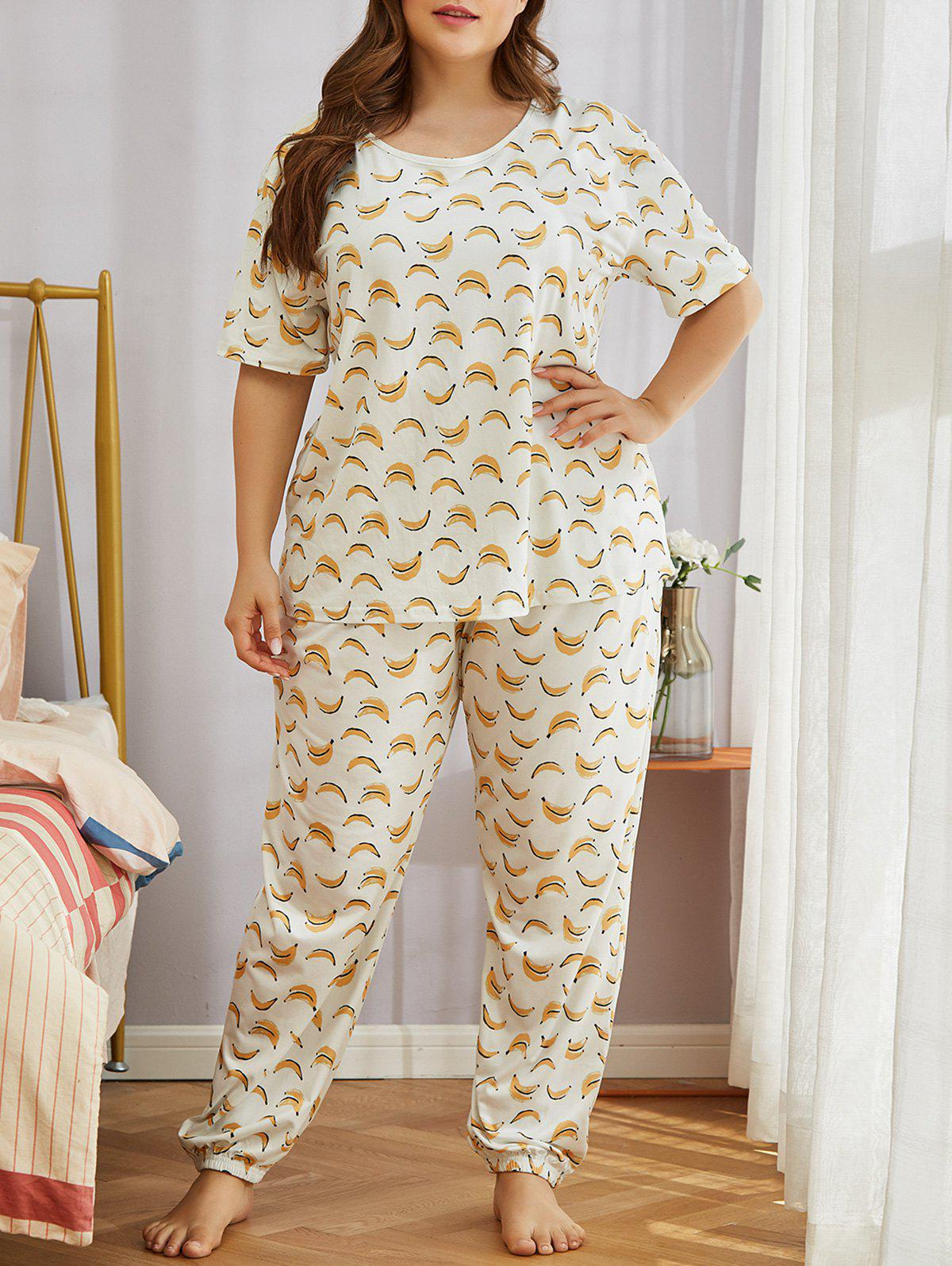 Shop Plus Size Funny Banana Print Short Sleeve Pajamas Set