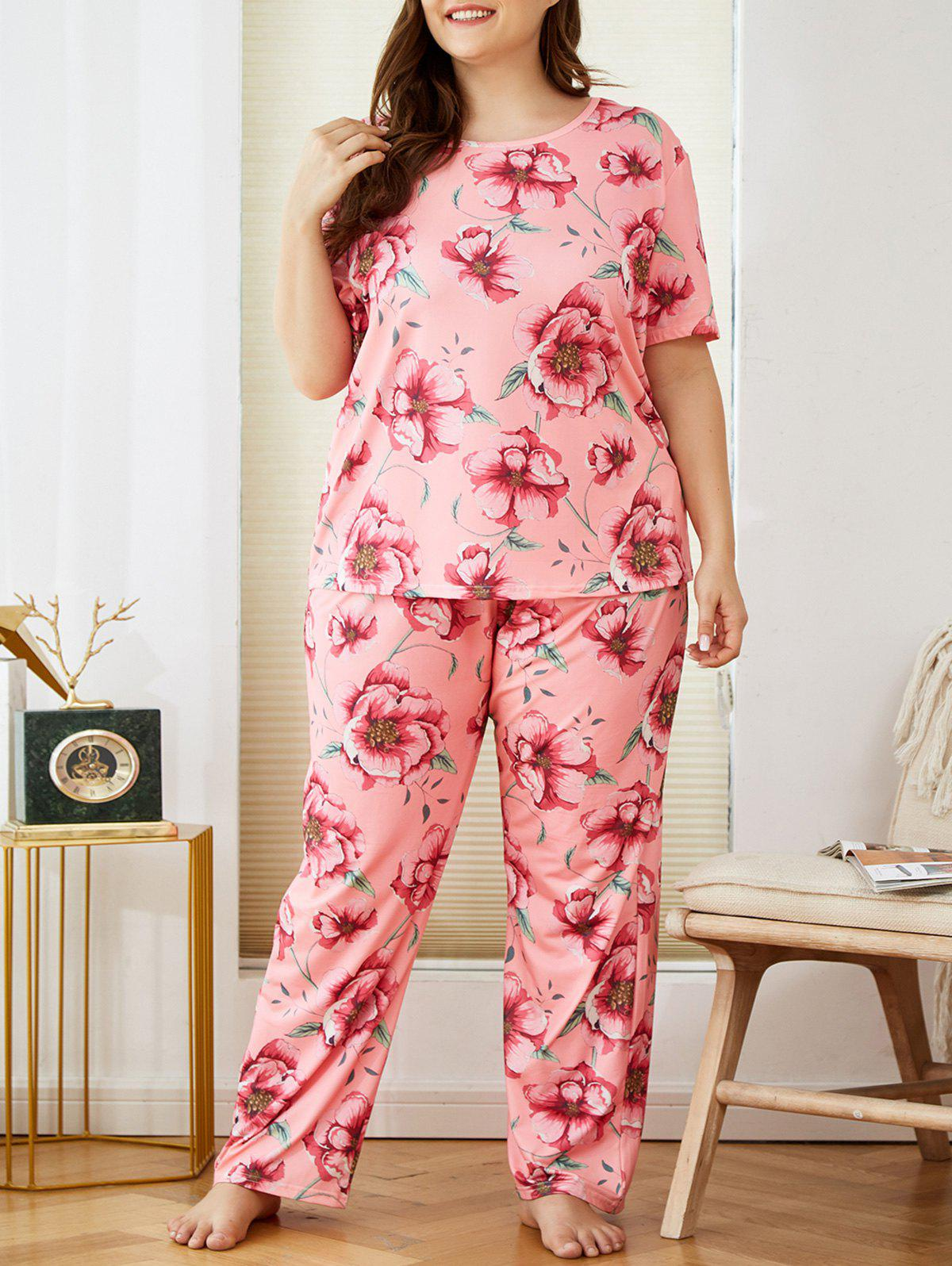 Shops Plus Size Flower Pattern Short Sleeve PJ Set