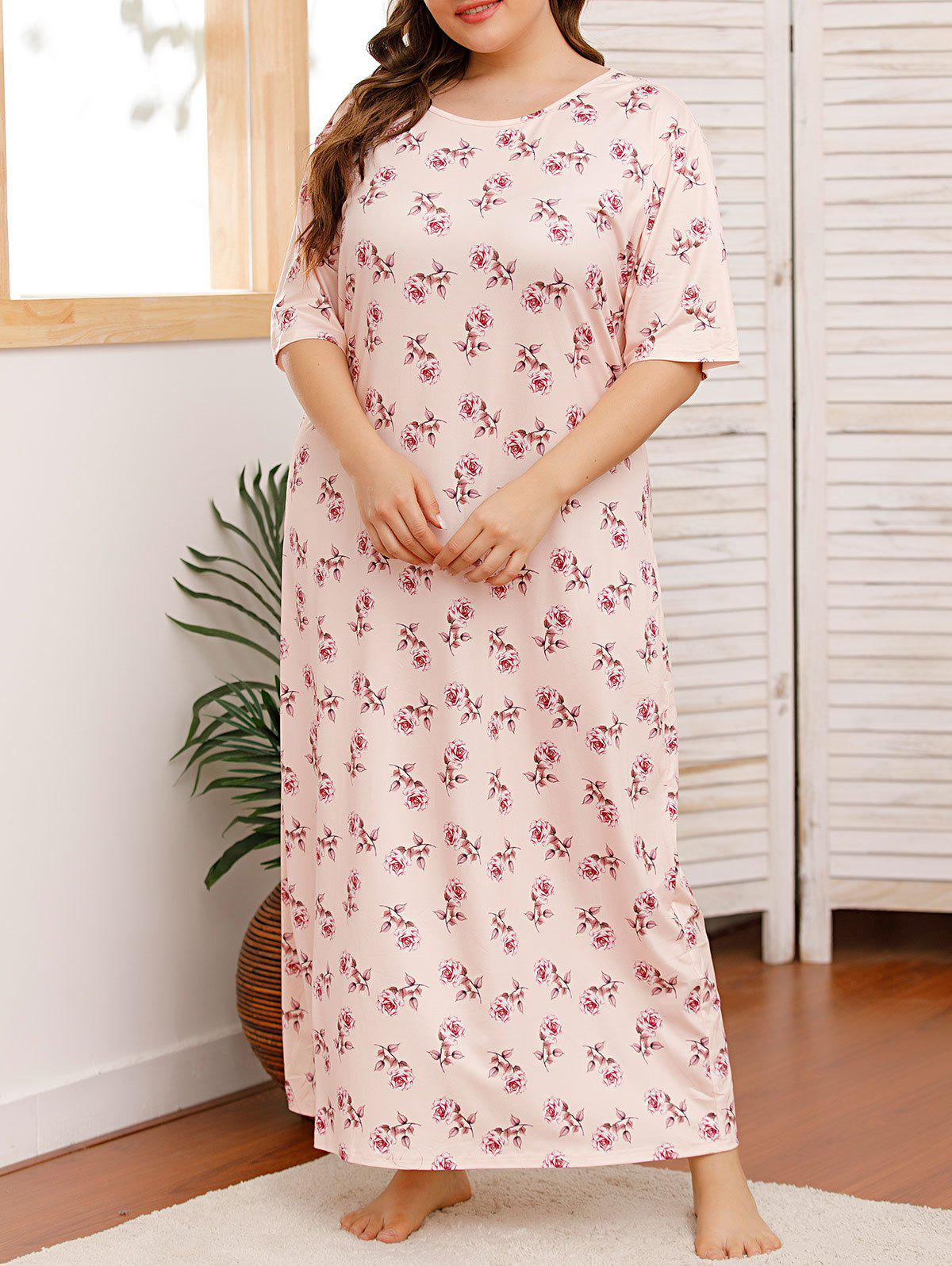 Unique Plus Size Flower Print Maxi Tee Pajamas Dress