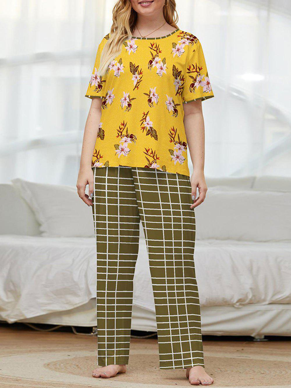 Trendy Plus Size Flower Grid Short Sleeve Pajama Pants Set