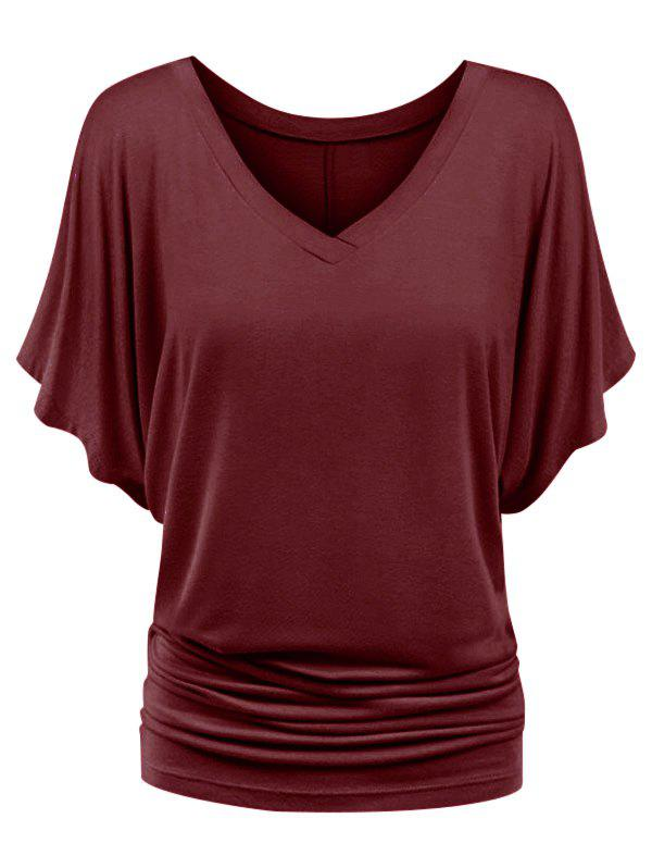 Best Plus Size Ruched Batwing Sleeve Top