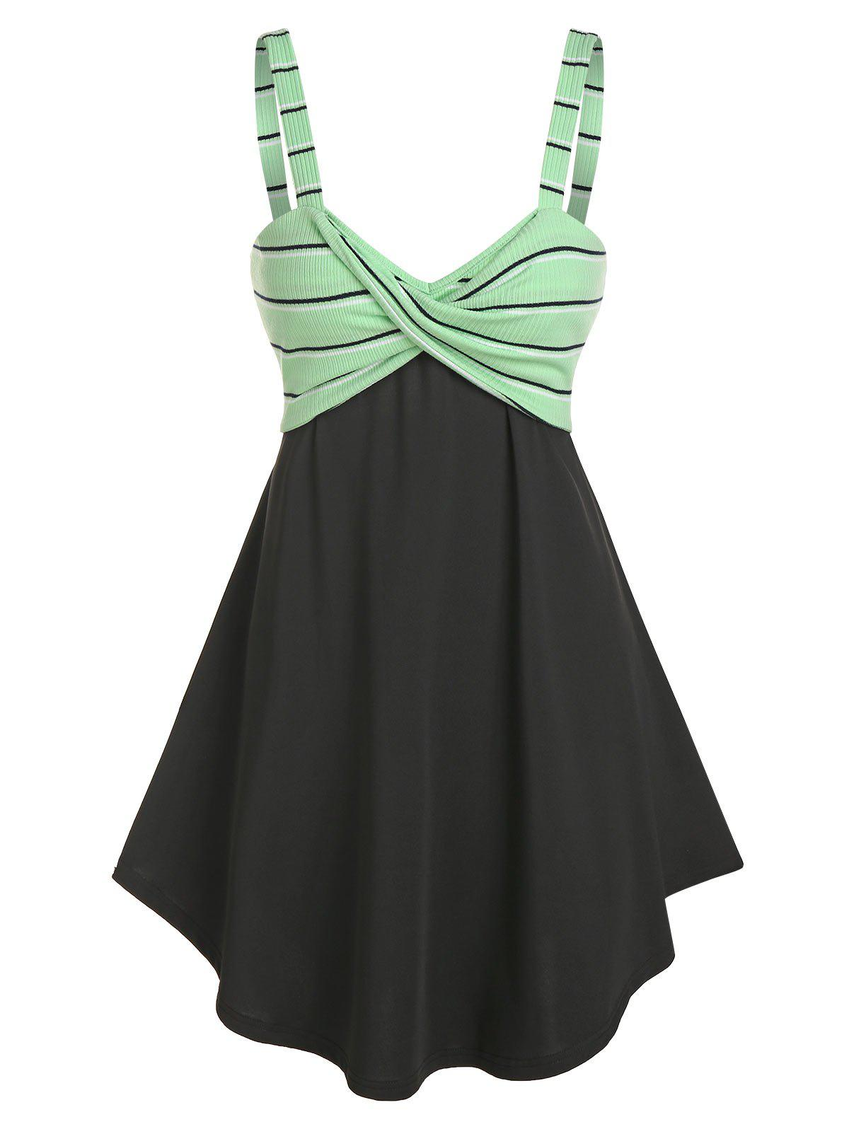 Trendy Striped Front Knot Fit And Flare Dress