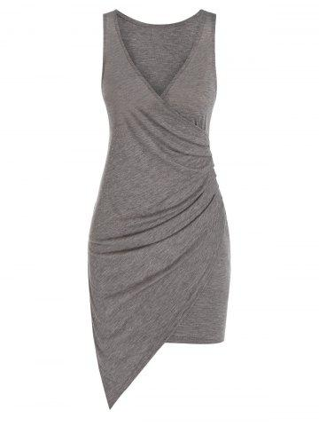 Sleeveless Plunge Neck Asymmetric Sheath Dress - TAUPE - 3XL