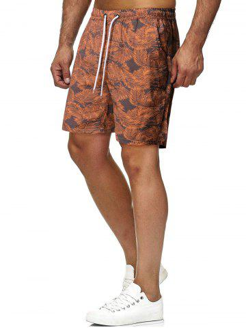 Drawstring Tropical Leaves Print Beach Shorts - BROWN - 2XL
