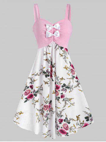 Bowknot Ruched Floral Midi Sleeveless Dress - LIGHT PINK - M