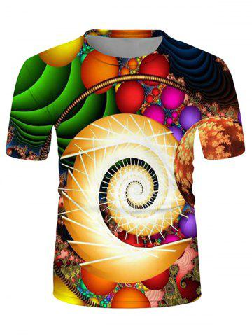 Colorful Ball Spiral Graphic Crew Neck Casual T Shirt