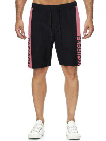 Block Side Letter Graphic Drawstring Casual Shorts - BLACK - L