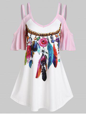Cold Shoulder Feather Print Contrast T-shirt