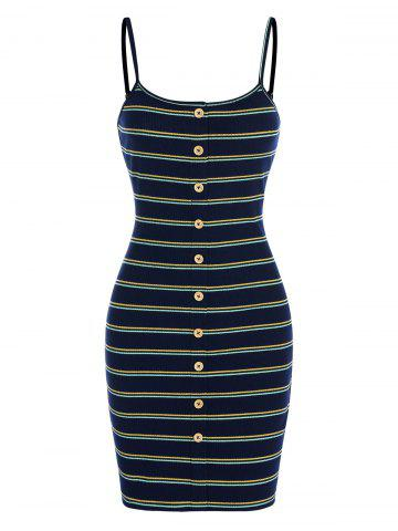 Mock Button Spaghetti Strap Striped Bodycon Dress
