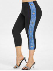 High Waisted Buttoned Side Plus Size Capri Leggings -