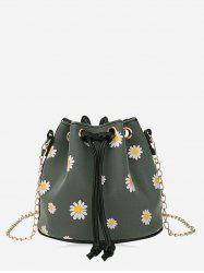 Daisy Print Drawstring Chain Bucket Bag -