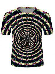 Digital Spiral Graphic Crew Neck Casual T Shirt -