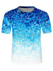 Digital Ice Print Crew Neck Ombre Casual T Shirt -