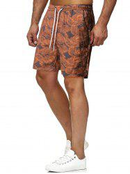 Drawstring Tropical Leaves Print Beach Shorts -