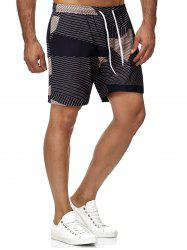 Drawstring Striped Bermuda Shorts -