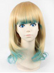 Medium Neat Bang Gradient Cosplay Anime Synthetic Wig -