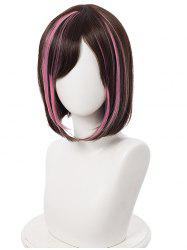 Short Highlighted Straight Bob Anime Cosplay Synthetic Wig -