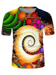 Colorful Ball Spiral Graphic Crew Neck Casual T Shirt -