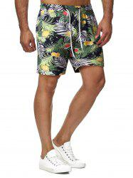 Drawstring Tropical Print Shorts -