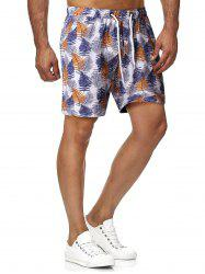 Leaves Print Drawstring Beach Shorts -