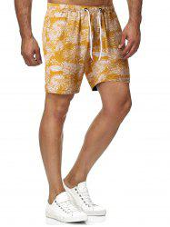 Leaf Print Drawstring Beach Shorts -