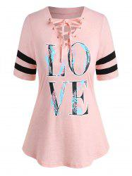Plus Size LOVE Feather Print Lace Up Graphic Tee -