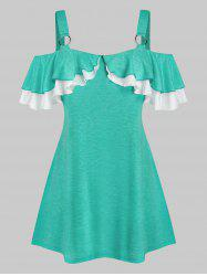 Plus Size Layered Flounce Cold Shoulder Ring Linked Tee -