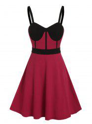 Colorblock Bowknot Fit And Flare Party Dress -