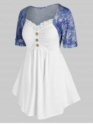Plus Size Denim Pattern Cuffed Sleeve Lace Panel Ruched Tee -