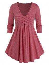 Plus Size Ruched Curved Long Sleeve Tunic Tee -