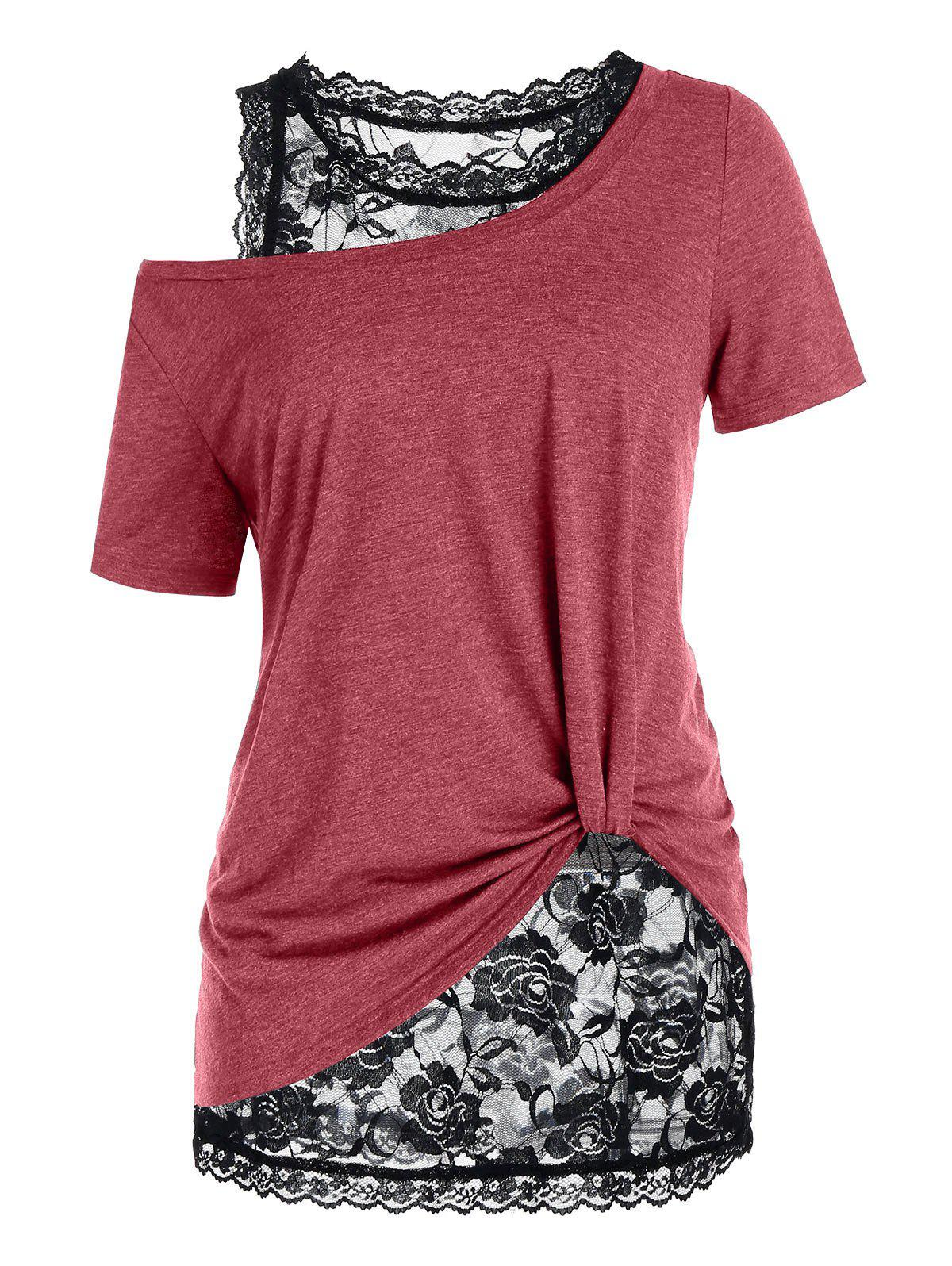 Plus Size Skew Collar T Shirt with Lace Tank Top фото