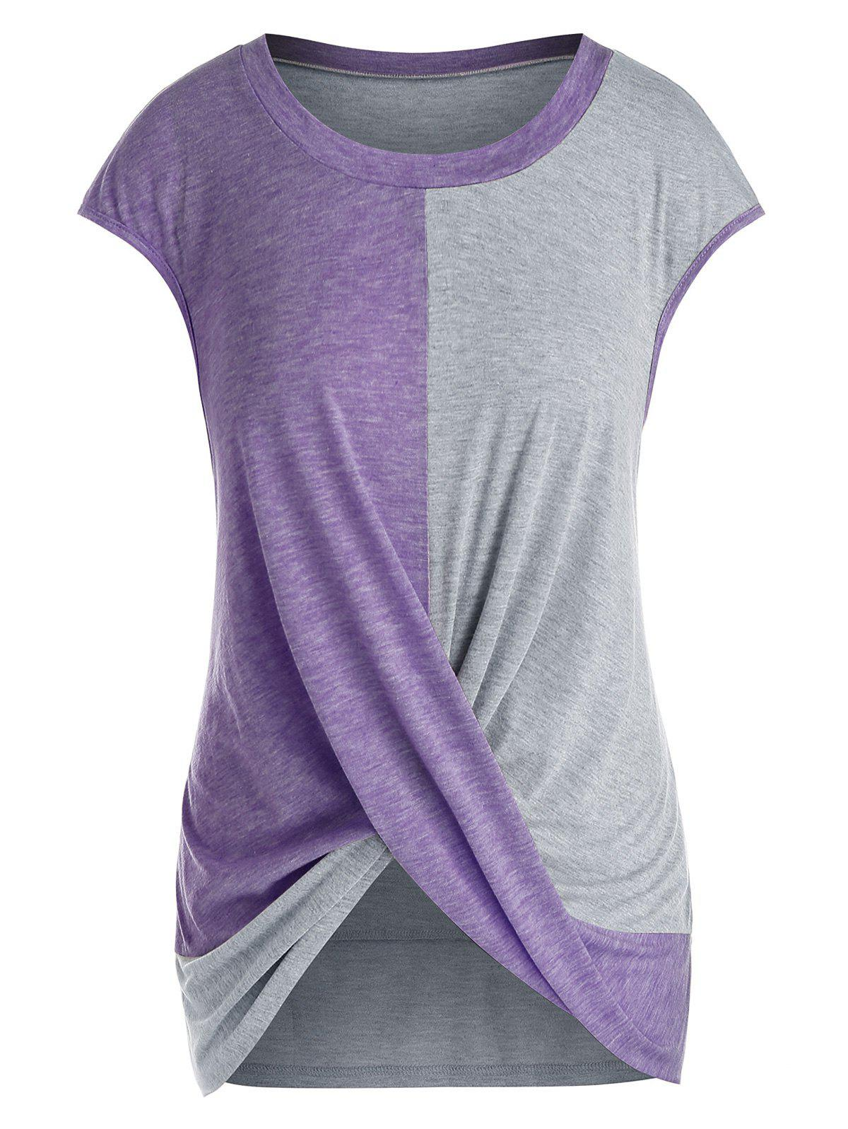 Plus Size Cap Sleeve Criss Cross T-shirt фото