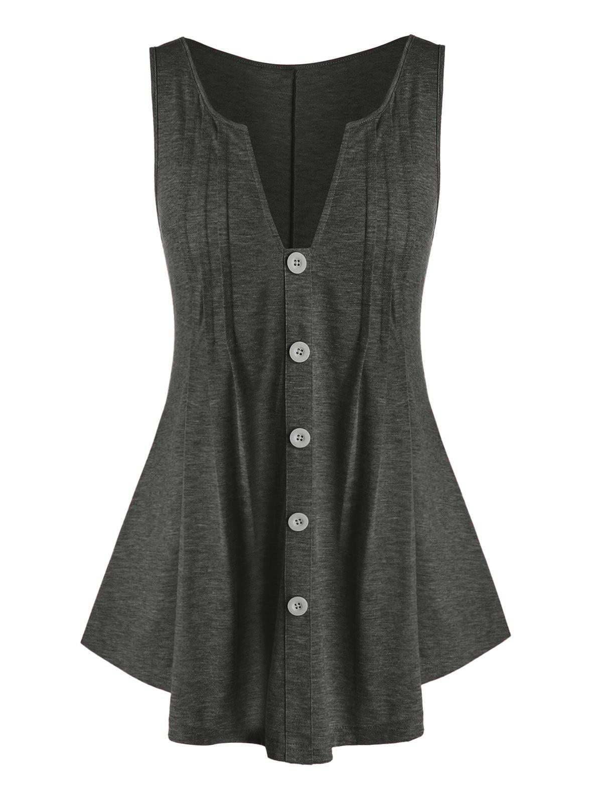 Discount Plus Size V Cut Mock Button Tunic Tank Top