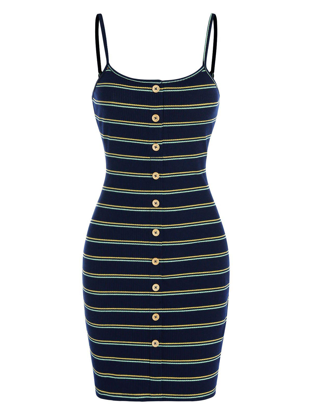 Cheap Mock Button Spaghetti Strap Striped Bodycon Dress