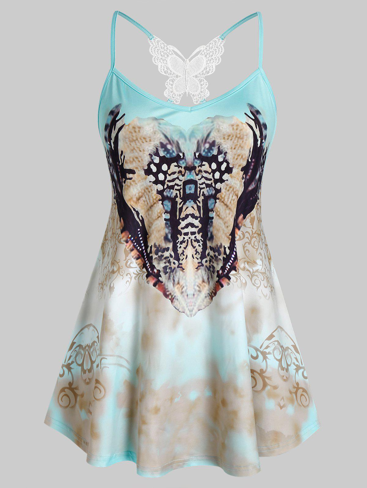 Fashion Plus Size Printed Embroidery Butterfly Tank Top
