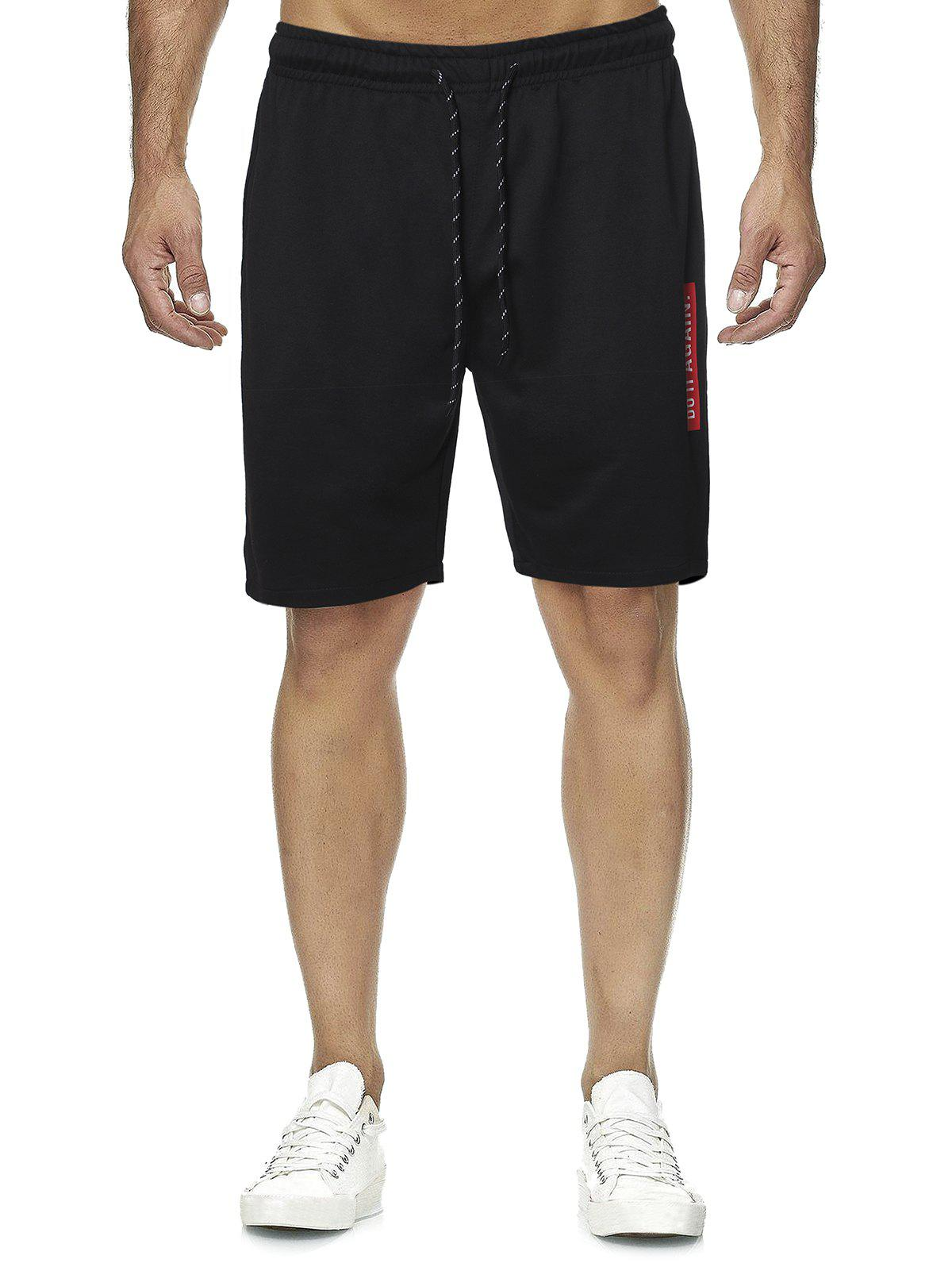 Unique Letter Graphic Casual Straight Shorts
