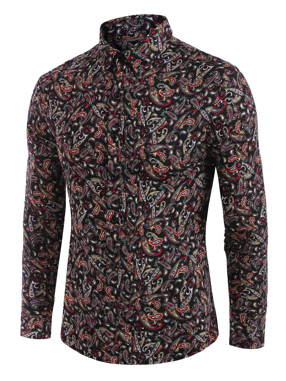 Trendy Paisley Allover Print Button Down Shirt