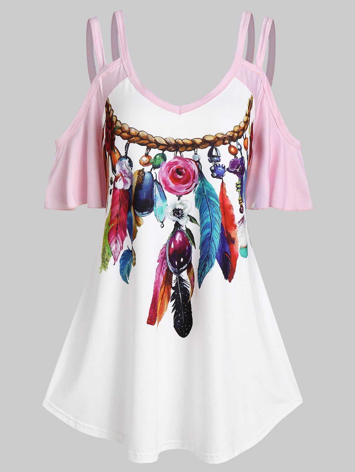 Latest Cold Shoulder Feather Print Contrast T-shirt