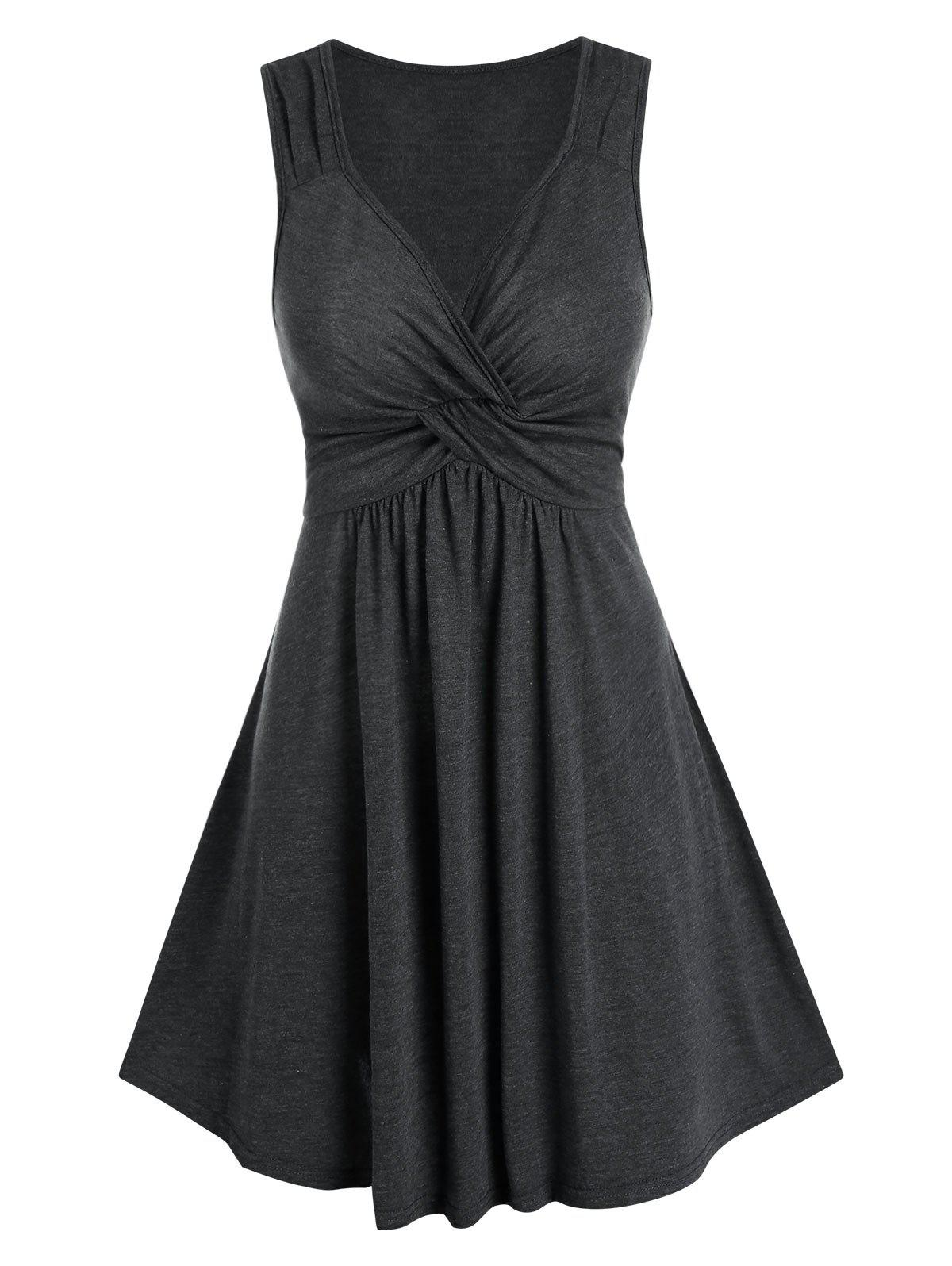 Front Knot Solid High Waist Dress фото