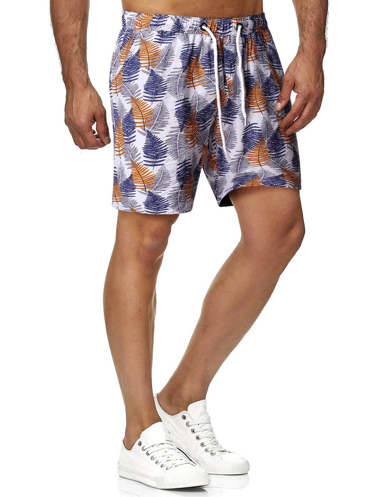 Unique Leaves Print Drawstring Beach Shorts