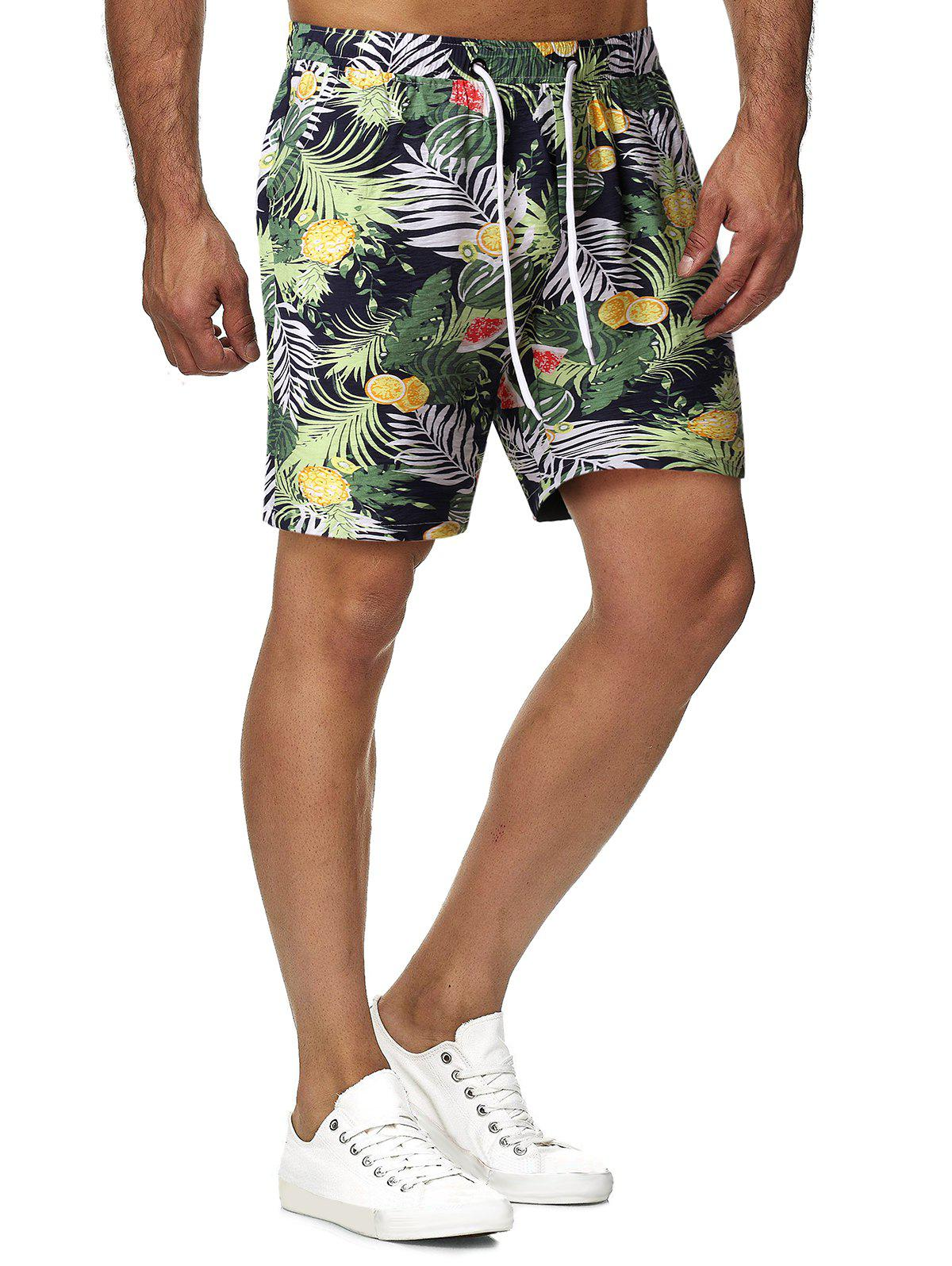 Outfits Drawstring Tropical Print Shorts
