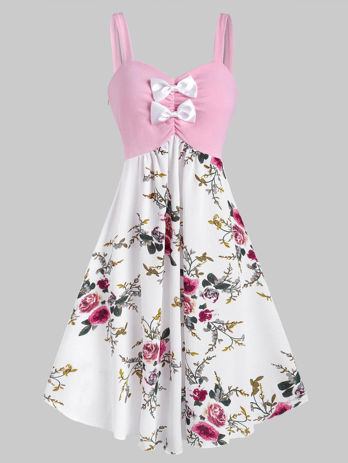 Latest Bowknot Ruched Floral Midi Sleeveless Dress