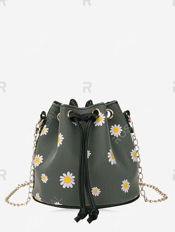 Fashion Daisy Print Drawstring Chain Bucket Bag