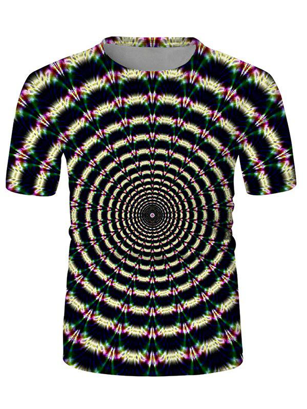Fancy Digital Spiral Graphic Crew Neck Casual T Shirt
