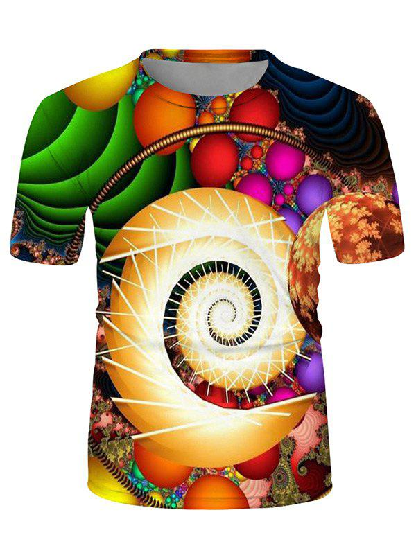 Cheap Colorful Ball Spiral Graphic Crew Neck Casual T Shirt